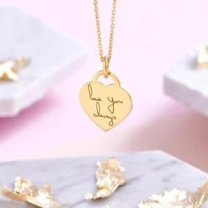 Gold Actual Handwriting Necklace