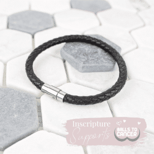 Mens leather bracelet - balls to cancer - inscripture - personalised jewellery