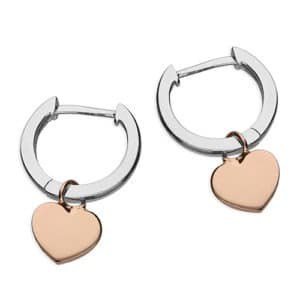 Two tone heart huggie earrings - - Inscripture - Personalised Jewellery