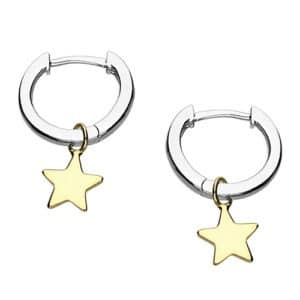 Two Tone Star Huggie Earrings