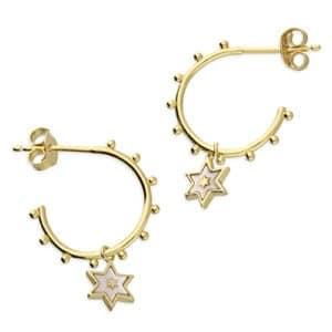 9ct Gold Mother of pearl hoop earrings