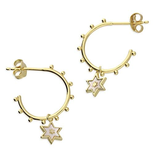 Inscripture - Mother Of Pearl Star Hoops