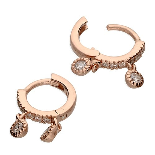 Inscripture - Rose Gold Charm Huggies