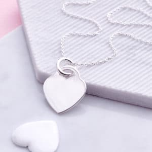 Mrs hinch Sterling silver heart necklace