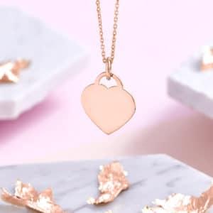 actual handwriting 18ct Rose Gold Heart Necklace - Inscripture - Memorial Jewellery
