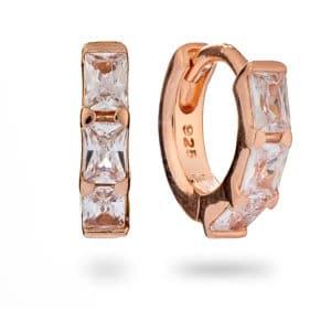 Rose Gold crystal baguette huggie earring - inscripture - personalised jewellery