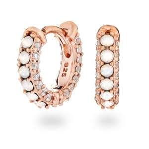 Rose Gold Opal Huggie Earrings - maria tash - inscripture - personalised jewellery