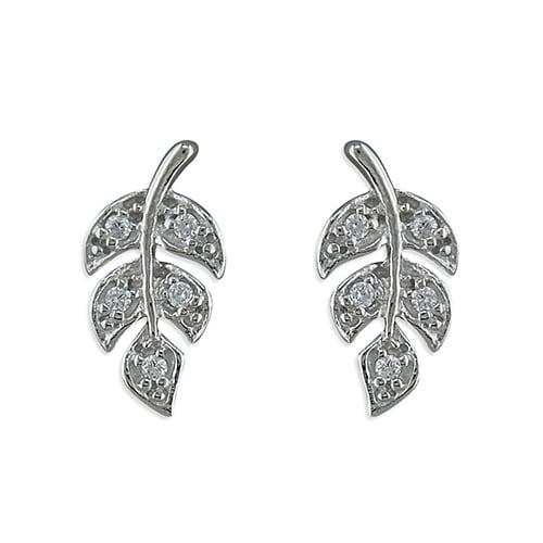 Inscripture - Diamante Leaf Earrings