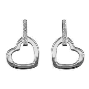 sterling silver hanging heart earrings Inscripture - Personalised Jewellery