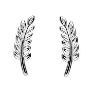 sterling silver leaf stud earrings Inscripture - Personalised Jewellery