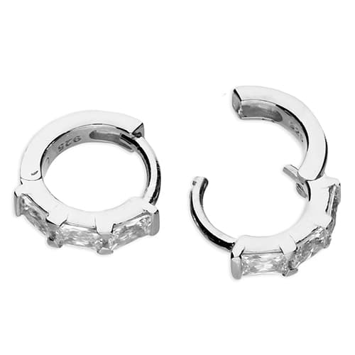 Inscripture - Silver Crystal Baguette Earrings