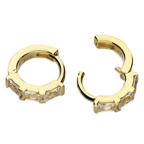 Inscripture - Gold Baguette Huggie Earrings
