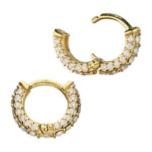 gold opal huggie earrings - Inscripture - Personalised Jewellery