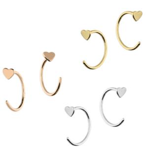 Heart pull through hoop Earrings - Inscripture - Earrings
