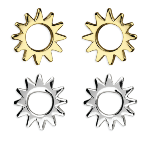 silver or gold sun stud earrings - Inscripture - Personalised Jewellery