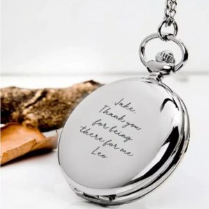 Handwriting Groomsmen pocket watch - Inscripture - Wedding - Memorial Jewellery