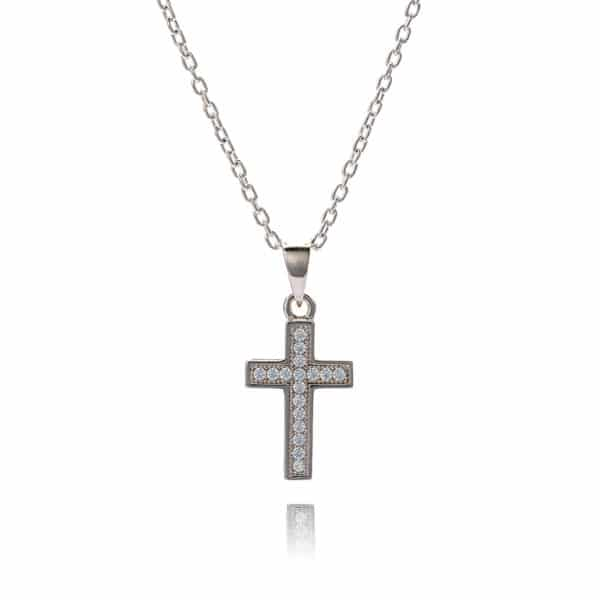 Inscripture - Diamante Silver Cross Necklace
