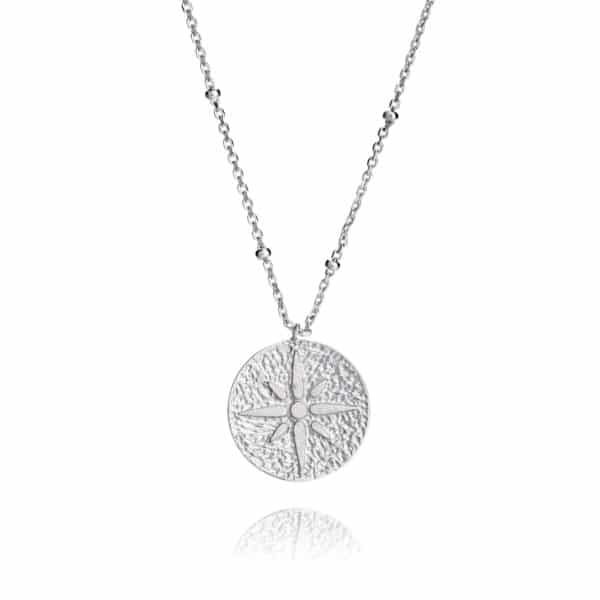 Inscripture - Silver compass necklace