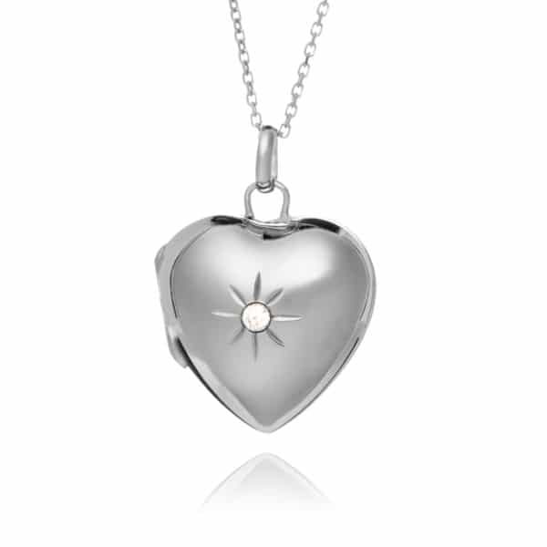 Sterling Silver Diamante Locket
