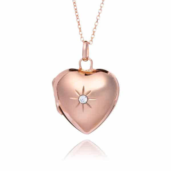 Rose Gold Diamante Heart Locket
