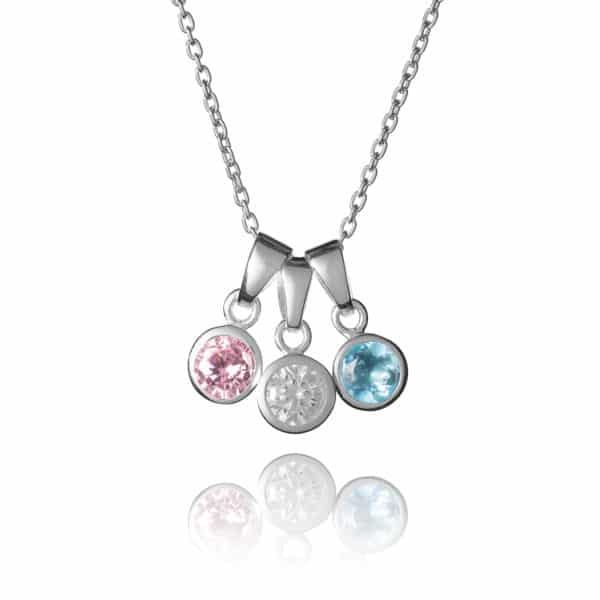 Sterling Silver Family Birthstone Necklace - inscripture - personalised jewellery