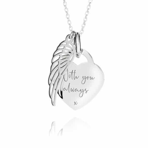 Heart Angel Wing Necklace - Inscripture
