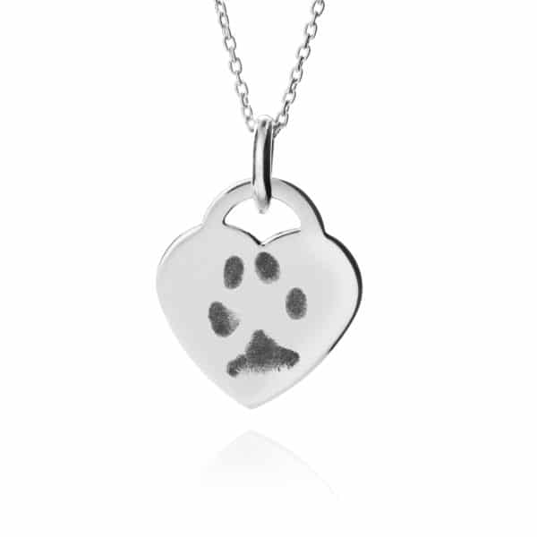 Inscripture - Paw Print Sterling Silver Heart Necklace