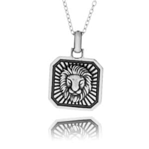 Sterling Silver Leo Zodiac Necklace - inscripture - personalised jewellery for him