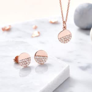 Rose gold diamonte earrrings Inscripture - Personalised Jewellery