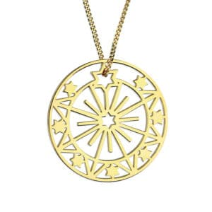 Gold Sun & Star Necklace Inscripture - Personalised Jewellery
