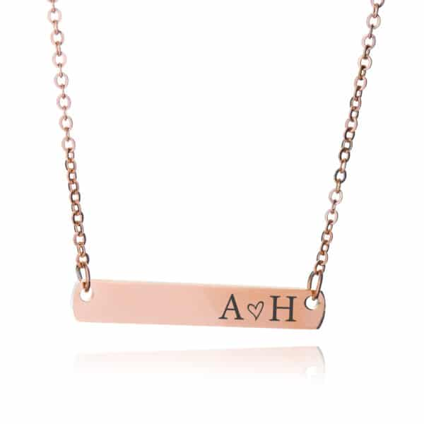 Rose Gold Initial Bar Necklace
