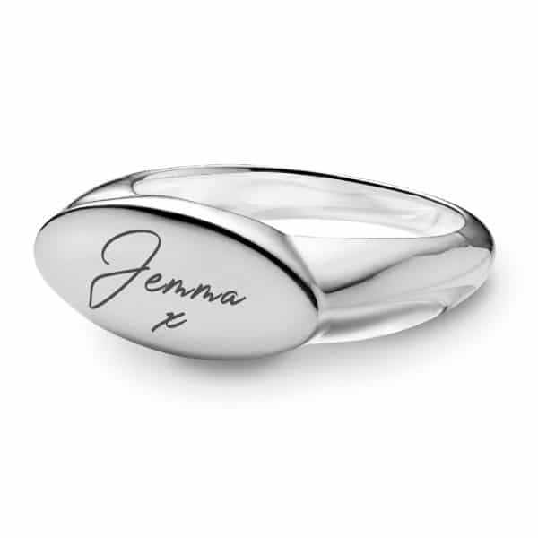 Handwriting Oval Signet Ring