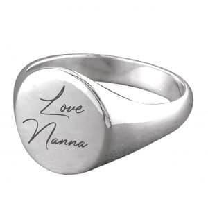 Sterling Silver Handwriting Signet Ring - Inscripture - Memorial Jewellery