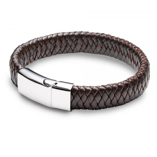 Inscripture - Men's Personalised Brown Leather Cuff Bracelet