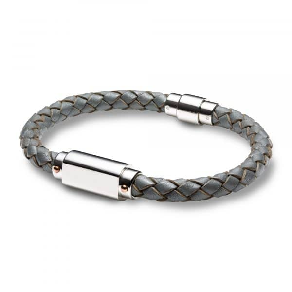 Inscripture - Men's Personalised Grey Leather ID Bracelet