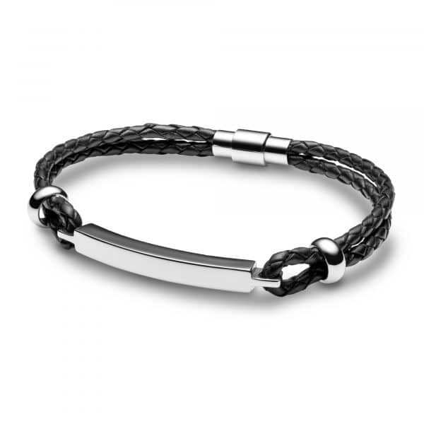Inscripture - Mens Personalised Black Leather Bar Bracelet