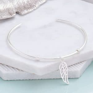 Sterling Silver Angel Wing Bangle - Inscripture - Personalised Bangle