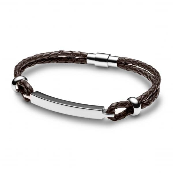 Inscripture - Men's Personalised Brown Leather Bar Bracelet
