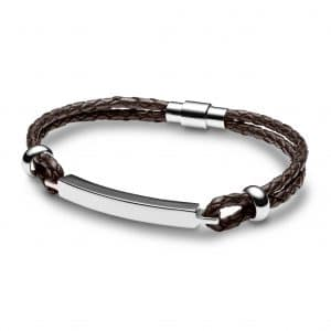 Mens Brown Leather Bar Bracelet - Inscripture - Handwriting Jewellery