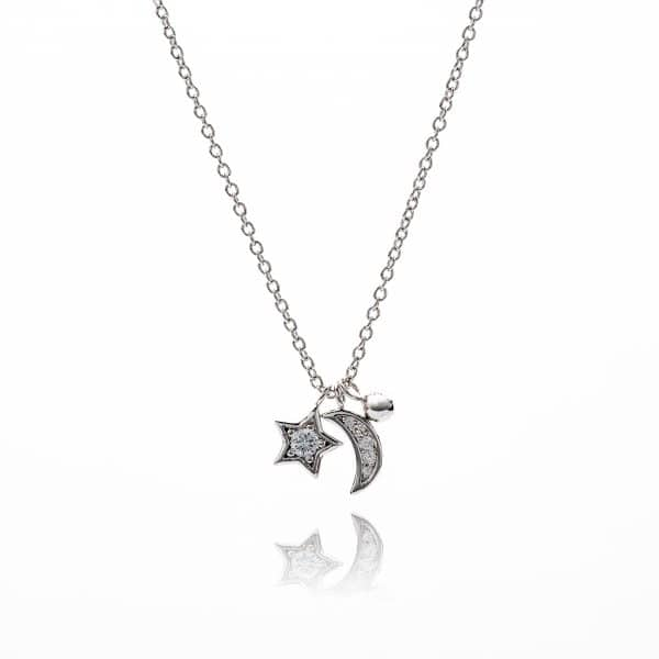 Star and Moon Diamonte Necklace