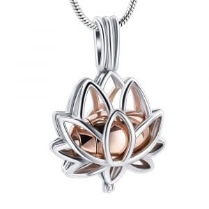 Rose Gold Lotus Cage Urn Ashes Necklace - Inscripture - Ashes Jewellery