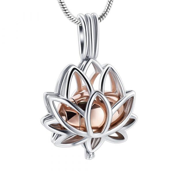 Inscripture - Rose Gold Lotus Caged Ashes Necklace