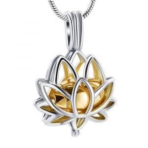 Gold Lotus Cage Urn Ashes Necklace - Inscripture - Ashes Jewellery