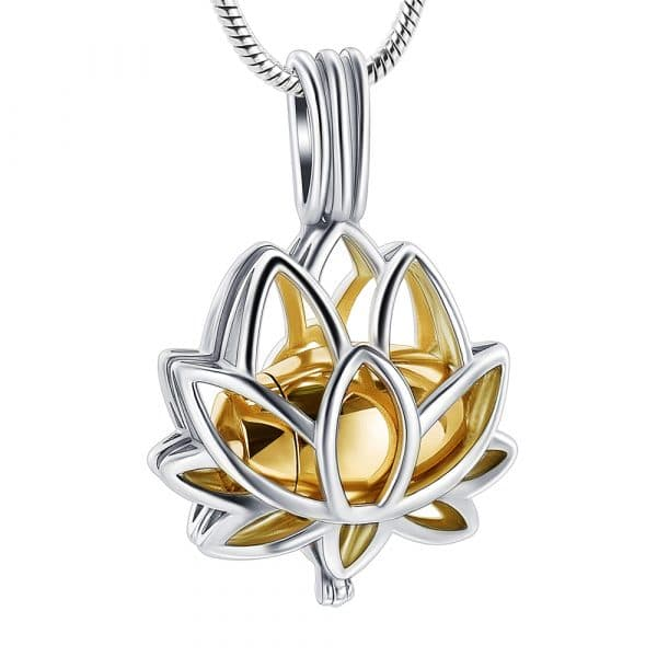 Inscripture - Gold Lotus Caged Ashes Necklace