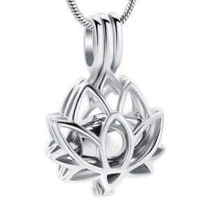 Silver Lotus Cage Urn Ashes Necklace - Inscripture - Ashes Jewellery