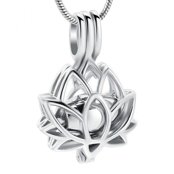 Inscripture - Silver Lotus Caged Ashes Necklace