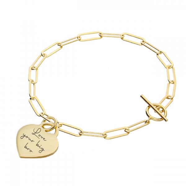 Inscripture.- Gold Handwriting Oval T-Bar Bracelet