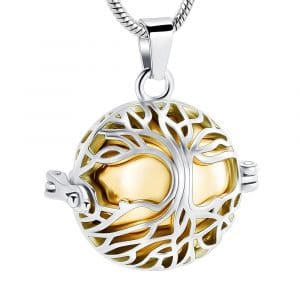 Gold Round Caged Ashes Necklace - Inscripture - Ashes Jewellery