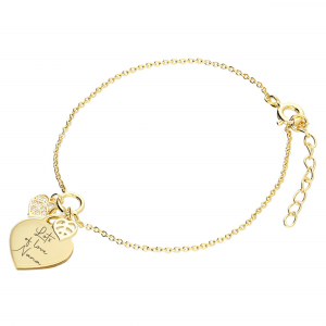 Gold Handwriting Leaf Duo Bracelet - Inscripture - Handwriting Jewellery