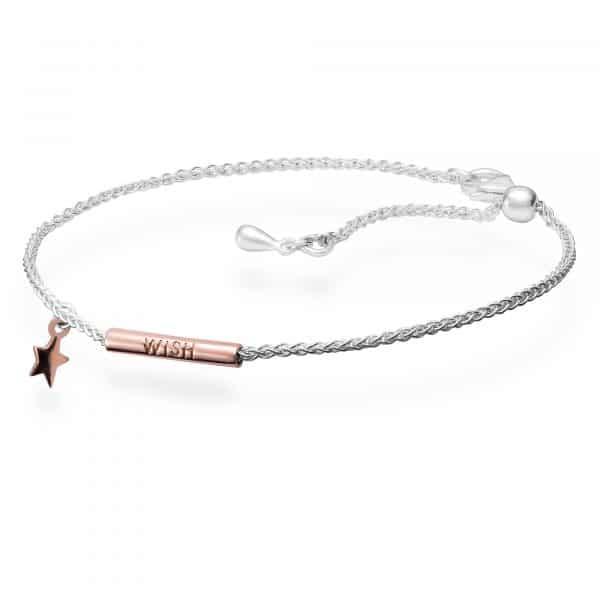 Inscripture - Sterling Silver & Rose Gold Wish Bracelet